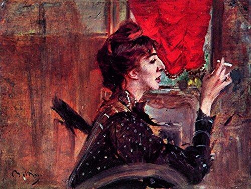 Het Museum Outlet - Het rode gordijn van Giovanni Boldini, Stretched Canvas Gallery verpakt. 58x78