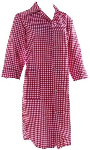 CL dames traditionele Gingham geruite werkkleding overall schort Tabard 3/4 mouw schort zakken & volledige knoop geruit ontwerp uniform - UK Made - 6 kleuren 8-30