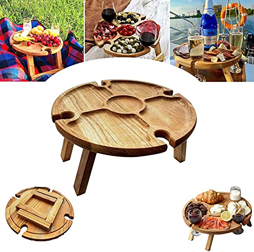 DSFKS 2 In 1 Picnic Table,Outdoor Folding Wine Table - Portable Picnic Table,Mini Folding Wine Table ?Stake Easy To Carry For Cheese and Fruit Snack Tray Collapsible Table
