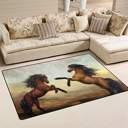 ALINLO Paardenhoed voor paarden, antislip vloermatten voor binnen- en buitendeur, badkamer huisdecoratie, 1,7' x 2,6'