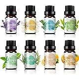 Oli Essenziali per Diffusori - 8x10ml Set Regalo di Olio Essenziale Naturali Puri 100% per Diffusore Aromaterapia, SPA, Massaggi, OUKZON Biologici Profumati Aromi Oli di Lavanda, Albero del Tè, ecc