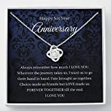 Love Knot Necklace, 6th Wedding Anniversary Gift For Wife Candy Or Iron Anniversary Gift Sixth Anniversary Gift 6 Year Anniversary Gift For Her Six, Necklace Jewelry with Message Card and Gift Box