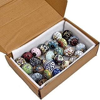 SHIRANYA Assorted Vintage Multi Color & Multi Designed Ceramic Cupboard Cabinet Door Knobs Drawer Pulls & Chrome Hardware ...