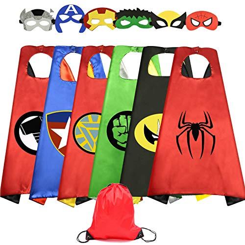 HUIHAI Capas de Superhéroe para Niños,6 Capa y 6 Máscaras y,de Fiesta de Cumpleaños de Navidad Víspera de Todos los Santos Los Mejores Regalos,Ideas Kit de Valor de Cosplay de Diseño