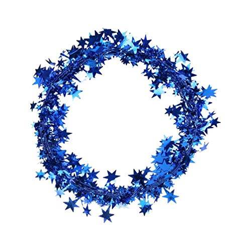Christmas Decoration Iron Wire Five-Pointed Star Ribbon Christmas Pendant, Color Silk Pendant, Christmas Wreaths, for Xmas Tree Festive Ornament Home Decor (Blue)