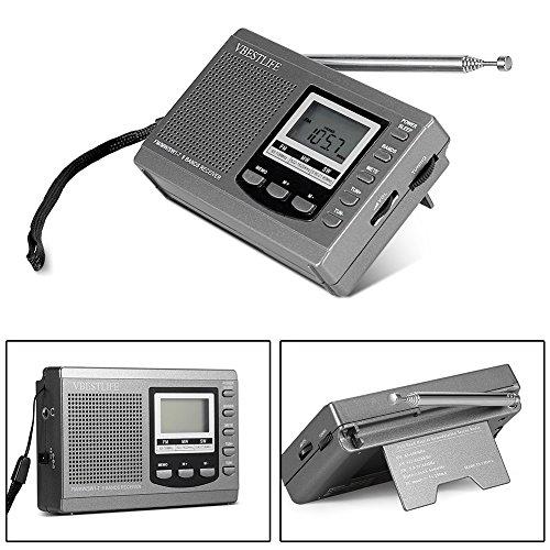 Socobeta Mini-Radios mit digitalem Wecker für Radiosender funktionieren(Gray)