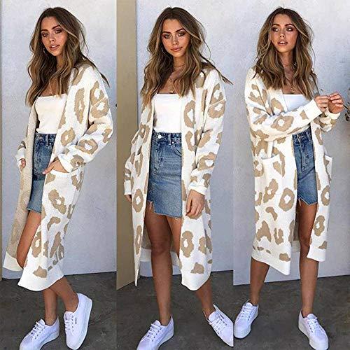 N-B Cárdigan Suelto de Lana de Punto con Estampado de Leopardo de Longitud Media para Mujer suéter de Moda de otoño e Invierno