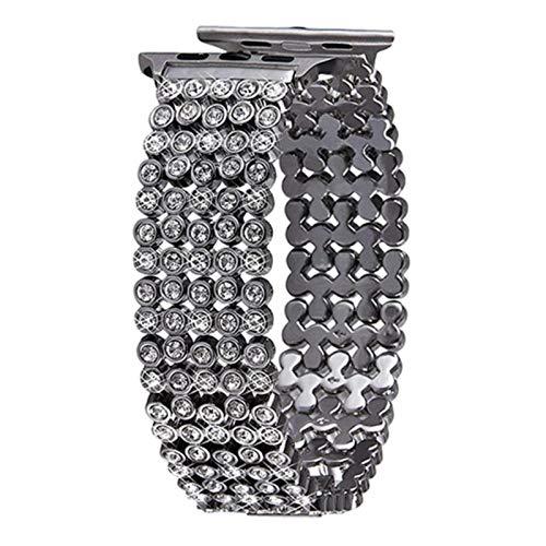 Pulsera de reloj de metal para Iwatch 4 5 6 SE Band 44 mm 40 mm Correa de diamante de repuesto para Apple Watch Series 3 2 1-plateado, para 38 y 40 mm