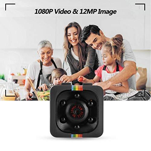 DAUERHAFT Función de detección de Movimiento con Sensor Anti-vibración Lente Gran Angular de 140 Grados Mini cámara de Seguridad para el hogar Cámara 1080P, para Seguridad en el hogar,(Black)