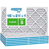 Aerostar Clean House 16 1/2x21 1/2x1 MERV 8 Pleated Air Filter, Made in the USA, (Actual Size: 16 1/2'x21 1/2'x3/4'), 6-Pack,White