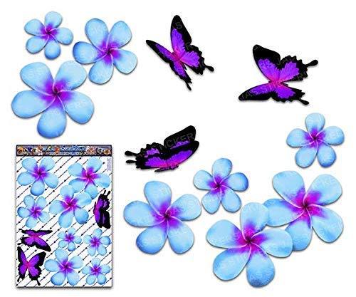 Fiore frangipani plumeria blu doppio + farfalla grande adesivi auto autoadesivi - ST00024BL_LGE - JAS Stickers