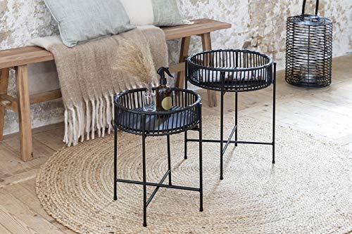 LIFA LIVING 2X Schwarzer Beistelltisch aus Rattan und Metall Ø 32 und 37 cm, 2er Set Runde Couchtische, Nachttische aus Bambus