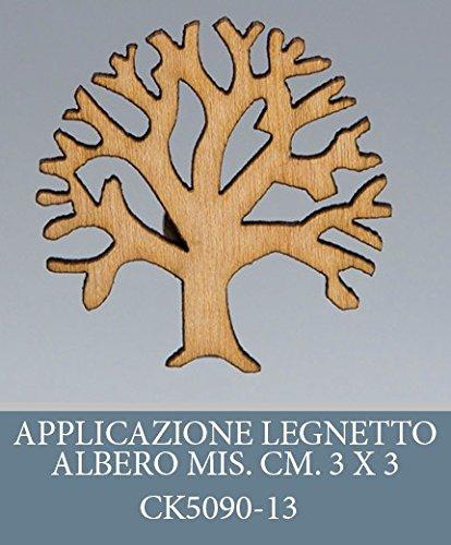 Confezione 50 pezzi, Bomboniera applicazione ALBERO DELLA VITA, legnetto, dimensione cm 3X3, PER segnaposto, composizione confetti. (ck5090-13)