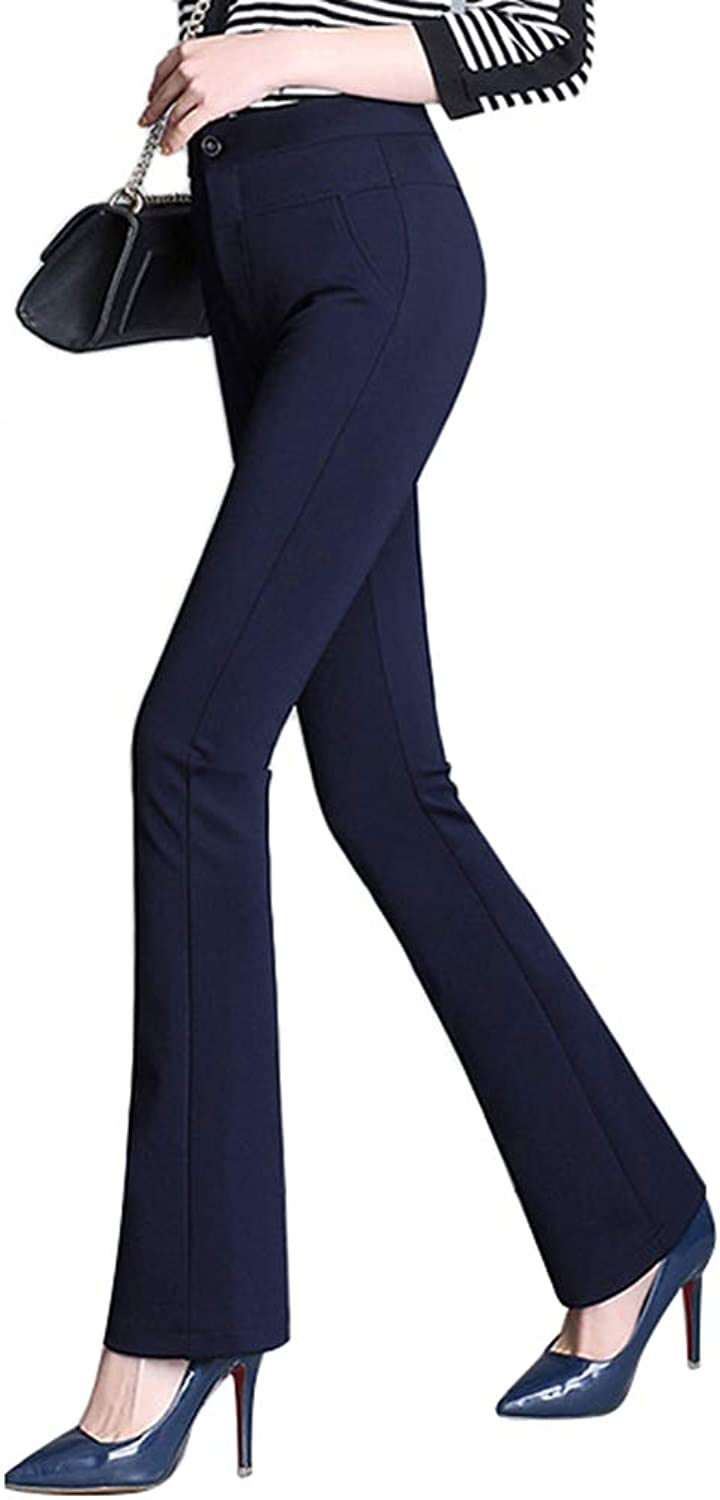 Absolufun Womens Stretch Slim Tummy Control High Waist Bootcut Solid Pants for Work