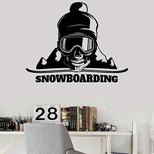 Snowboard Skull Mountain Deportes extremos Etiqueta de la pared Decoración del hogar Habitación Dormitorio Interior Calcomanías Mural extraíble Otro color 53x42cm