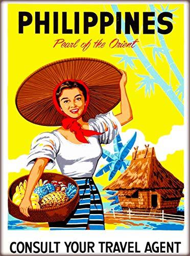 Letrero de chapa de estilo retro de Filipinas con perla del Orient; letrero de estaño, estilo vintage, para bar, cocina, cueva, cafetería, cafetería, decoración de pared (20 x 30 cm)