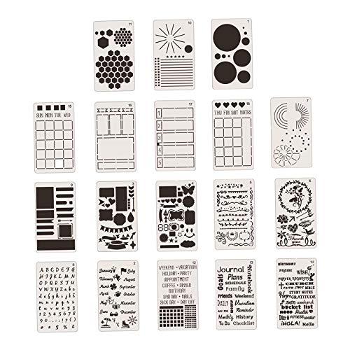 Hellery 18 piezas 4x7 pulgadas diario esténcil pintura plantillas DIY artesanía plantillas plástico planificador conjunto para diario, cuaderno,