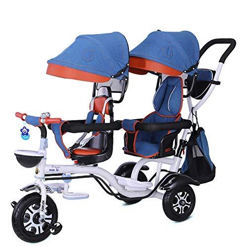 Triciclo para niños, triciclo para niños, triciclo para niños doble, triciclo 4 en 1, cochecito doble, cómodo, dos asientos, bicicleta de 3 ruedas para niños con asiento giratorio, carrito para bebés