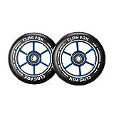 CLAS FOX Pro Stunt Scooter Rollen Roller Räder Wheels 100mm EIN Paar mit ABEC-9 Kugellager CNC Metallkern Graviti (2 stücke) (schwarz-blau)