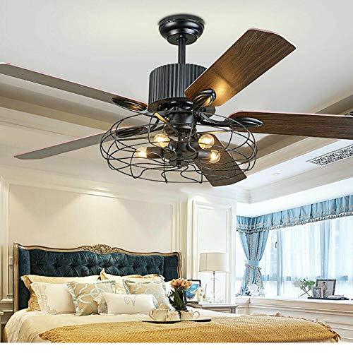 Generic 2 in 1 Retro Deckenventilatoren mit Beleuchtung,Industrie Stil Deckenventilator mit Licht Ventilator Deckenlampe 3 Dateien Einstellbare Windgeschwindigkeit mit Fernbedienung 52 Zoll