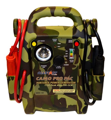 Best Price Allstart 555 Pro Pac Jump Starter [Camo] with AC Inverter, Multi-Position Light, 4 Gauge ...