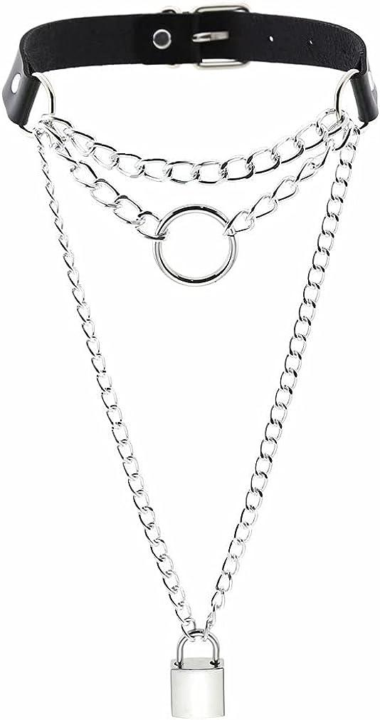 Adjustable Leather Choker,Punk Rock PU Choker Necklace Goth Soft Choker Collar Chain for Women Girls Cosplayer