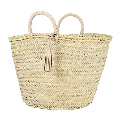 ArtOuarzazate Woven Moroccan Market Basket, Straw Beach Bag, French Market Basket with Short Ivory Leather Handles and Tassel, Style Women Bag (Ivory, L20 x12)