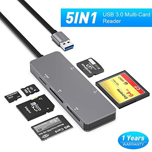 SD-Kartenleser,Rocketek 5-in-1-USB 3.0-Speicherkartenleser-Adapter Lese-und Schreibgeschwindigkeit Bis zu 5 Gbit/s Lesen von 5 Karten gleichzeitig für CF/XD/SD/M2-TF/MS für Mac OS,Windows,Linux,Chrom