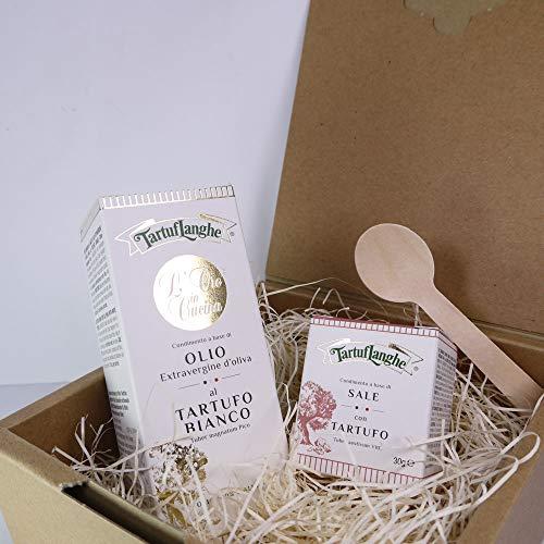 ギフト タルトゥフランゲ社 白トリュフオイル 黒トリュフ塩 セット 木のスプーン ギフトボックス付 イタリア産