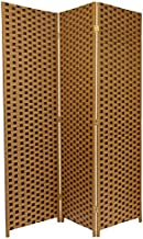 Oriental Furniture 6 ft. Tall Woven Fiber Room Divider - Two Tone Brown - 3 Panel