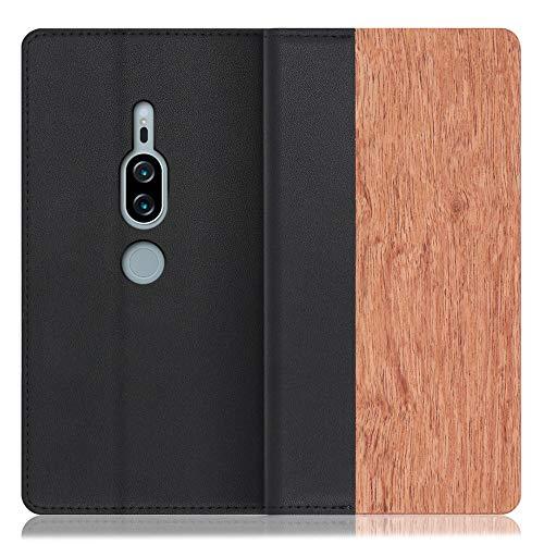 LOOF Nature Xperia XZ2 Premium/SO-04K / SOV38 ケース 手帳型 カバー 本革 天然木 ベルト無し ウッド 木製 木 カード収納 カードポケット 本革 高級 スタンド機能 手帳型ケース スマホケース (花梨)