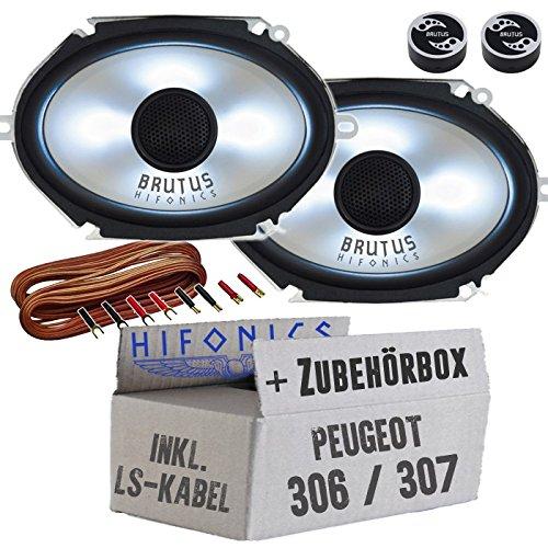 Hifonics BX682i - 6x8\' Oval Lautsprecher mit LED-Beleuchtung - Einbauset für Peugeot 306 & 307 - JUST SOUND best choice for caraudio
