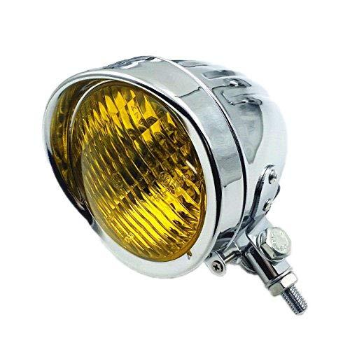 Retro Metall 60 Watt / 55 Watt Motorrad Kugelkopf Licht Lampe Scheinwerfer für Cruiser Chopper Cafe Racer Bobber (Chrom / Bernstein)