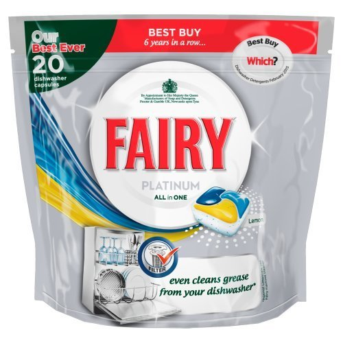 Fairy Platinum All In One Lemon Dishwashing Tablets (Pack of 20) by Fairy
