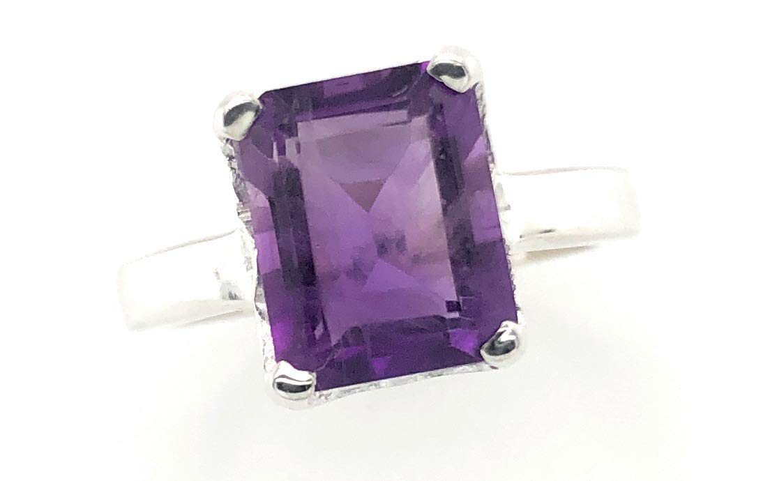 Cheap sale Natural 2.5ct Purple Amethyst 925 Solid Siz Sterling Silver Ring Max 86% OFF
