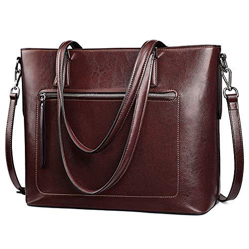 S-ZONE Bolso de mano de cuero genuino para mujer bolsa de trabajo de hombro con correa de equipaje, Marrón (Coffee), Medium