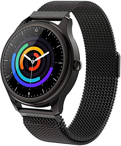 Reloj inteligente impermeable IP67 Fitness Tracker Monitor de frecuencia cardíaca, podómetro, cronómetro, pulsera para hombres y mujeres, correa de acero, correa de acero dorado, color negro
