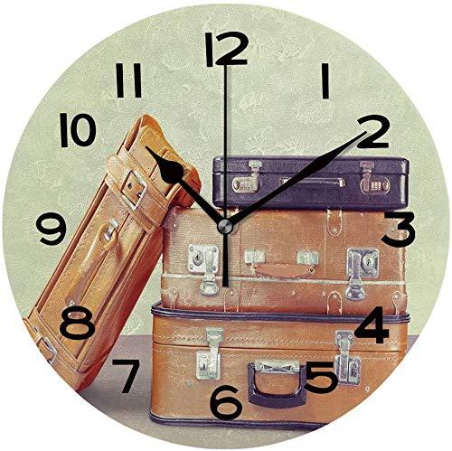 Toll2452 Reloj redondo de madera de 30,48 cm, con maletas de cuero, reloj de pared único de madera para decoración del hogar