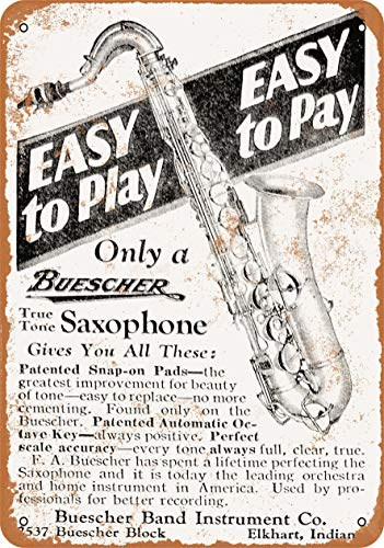 Vincentney 1928 Buescher Saxophones 20x30cm Retro Blechschild Bardekoration Wand-Dekoration Werbeschild Metallschild Metall Tin Sign YB-3711