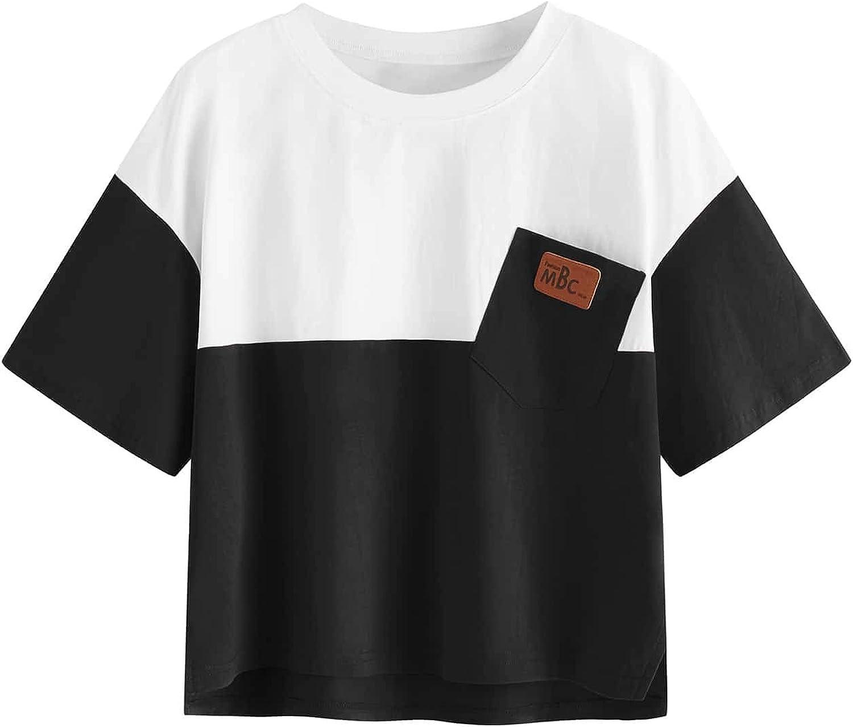 SweatyRocks Women's Color Block Half Sleeve High Low Casual Loose T-Shirt Tops