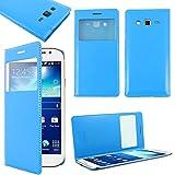 ebestStar - Funda Compatible con Samsung Grand 2 Galaxy G7105 G7102 G7100 Carcasa Ventana Vista Cover Cuero PU, Funda Libro Billetera, Azul [Aparato: 146.8 x 75.3 x 8.9mm, 5.25'']