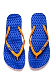 bumpers Women's Slim Massage Flip Flop (9-10 US / 39-40 EU, Blue & Orange)