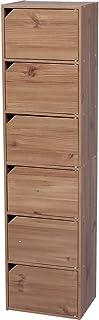 アイリスオーヤマ カラーボックス 収納ボックス 本棚 6段 扉付き 幅36.6×奥行29×高さ144.6cm ナチュラル モジュールボックス MDB-6D