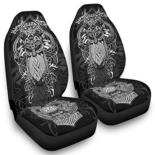 Seat Covers for Cars The Twin Ravens in Mythology Viking Full Cushion Anti-Dirt - Car Seat Covers Set of 2 All Year-Round use white4 OneSize