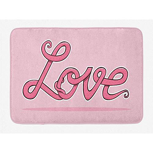 Anna-Shop Liefde badmat, kalligrafische lay-out in roze tinten romantische Valentijnsdag onder het motto illustratie, pluche badkamer decoratiemat met anti-slip rug, 29,5 'x 17,5 '