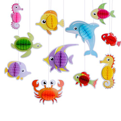 11Pcs Ocean Sea Animal Honeycomb Centerpiece Decoration Sea Creature Decoration Sea Themed Creature for Baby Birthday Party Supplies