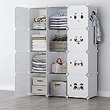 GEORGE&DANIS Portable Closet Wardrobe Storage Cube Organizer for Kids Teenagers Plastic Dresser Armoire, White, 14 inches Depth, 3x4 Tiers