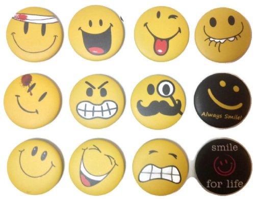 Insignia de botón con diseño de emoticono con cara sonriente #5 de calidad impresionante lote de 12 nuevos pines de 3,2 cm