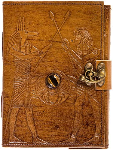 Urban Leather Book - Egyptian King Pharaoh and Anubis - Artist Sketchbook Drawing Scrapbook Writing Notebook, Unlined