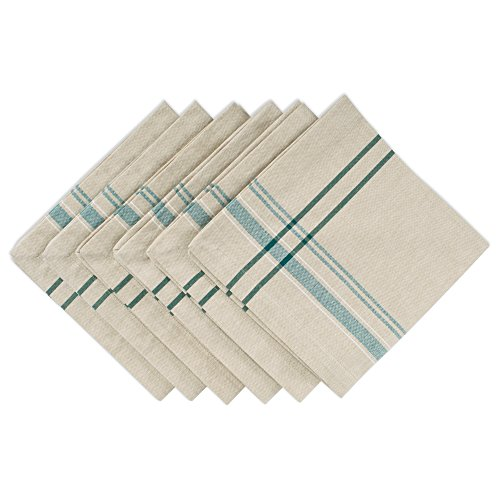 DII 100% Cotton Everyday French Stripe Tabletop Collection, Napkin Set, Taupe/Teal 6 Count